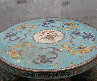 "35"" Chinese Purple Bronze Cloisonne Foo Dog Lion Dragon Round Table Desk stool 2"