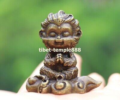 2 CM Tibet Bronze Handwork Zodiac Animal Monkey king Sun Wukong amulet Pendant