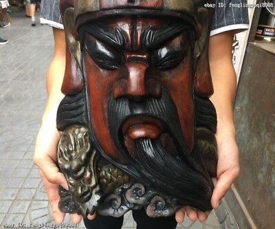 China Old Wood Carved Hand-Painted Dragon Guan Gong GuanYu Head Face Mask Statue 4
