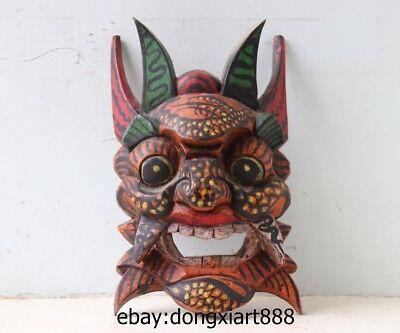 10 Tibet Buddhism Wood Handwork Carved painted Mahakala Buddha face mask Statue 2