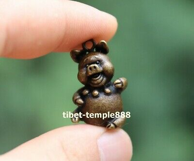 3 cm Chinese Pure Bronze Zodiac Animal Lucky Amulet Beast Pig Hog Swine Pendant 8