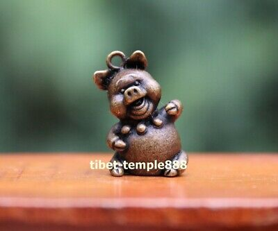 3 cm Chinese Pure Bronze Zodiac Animal Lucky Amulet Beast Pig Hog Swine Pendant 2