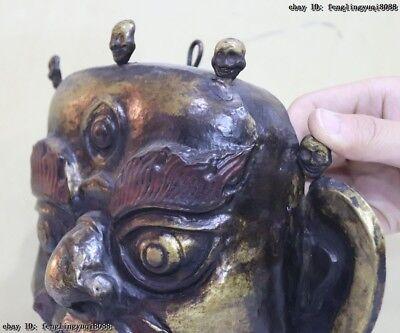 Folk Fane Monastery Old Red Copper Gold Gilt Guru LaMa Buddha God Head Mask 9
