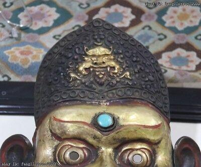 Nepal Monastery Old Red Copper Gold Gilt Jambhala Mahakala Buddha God Head Mask 3