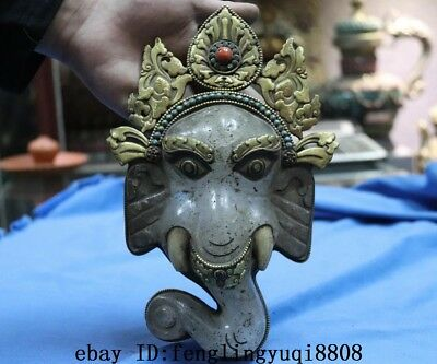 Tibetan Old Copper Gold Gilt Inlay Turquoise Coral Crystal Elephant Head Statue 2