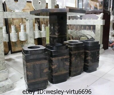 Chinese Black Stone Carved jade Zong Yu Cong Jade Cong Stool Table Four Chairs A 10