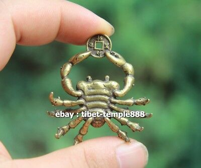 5 CM Chinese Pure Bronze  river crab get rich Money Fengshui Wealth Pendants 4