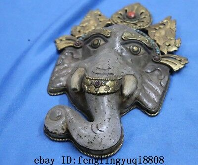 Tibetan Old Copper Gold Gilt Inlay Turquoise Coral Crystal Elephant Head Statue 10