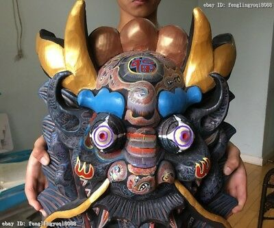 China Folk Wood Carved Hand-painted Drawing Color Dragon Head Mask Statue 3