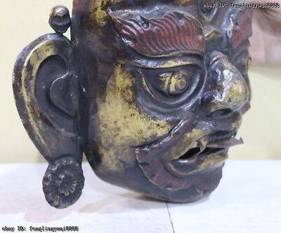 Folk Fane Monastery Old Red Copper Gold Gilt Guru LaMa Buddha God Head Mask 7