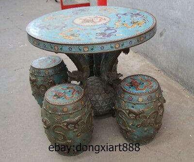 "35"" Chinese Purple Bronze Cloisonne Foo Dog Lion Dragon Round Table Desk stool 8"