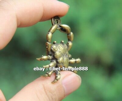 5 CM Chinese Pure Bronze  river crab get rich Money Fengshui Wealth Pendants 7