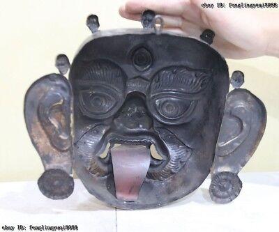 Folk Fane Monastery Old Red Copper Gold Gilt Guru LaMa Buddha God Head Mask 11