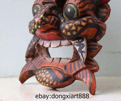 10 Tibet Buddhism Wood Handwork Carved painted Mahakala Buddha face mask Statue 8