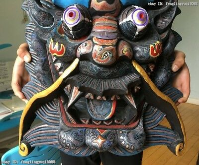China Folk Wood Carved Hand-painted Drawing Color Dragon Head Mask Statue 4