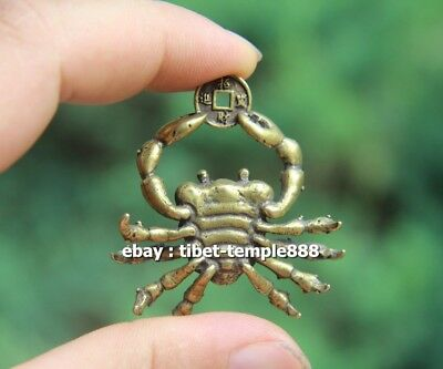 5 CM Chinese Pure Bronze  river crab get rich Money Fengshui Wealth Pendants 8