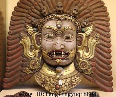 Tibet Buddhism Temple Copper Gold Gilt Inlay Crystal Mahakala Buddha Mask Statue 6