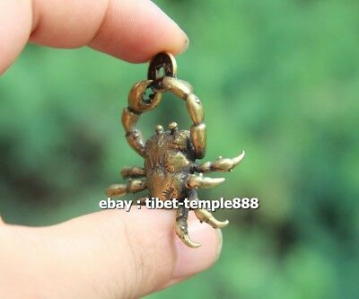 5 CM Chinese Pure Bronze  river crab get rich Money Fengshui Wealth Pendants 3
