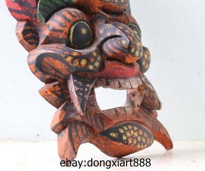 10 Tibet Buddhism Wood Handwork Carved painted Mahakala Buddha face mask Statue 11