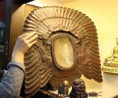 Tibet Buddhism Temple Copper Gold Gilt Inlay Crystal Mahakala Buddha Mask Statue 12