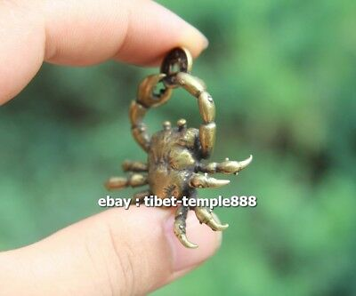 5 CM Chinese Pure Bronze  river crab get rich Money Fengshui Wealth Pendants 6