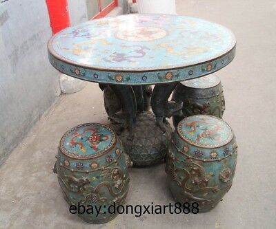 "35"" Chinese Purple Bronze Cloisonne Foo Dog Lion Dragon Round Table Desk stool 7"