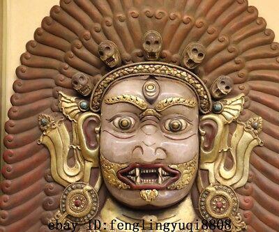 Tibet Buddhism Temple Copper Gold Gilt Inlay Crystal Mahakala Buddha Mask Statue 4