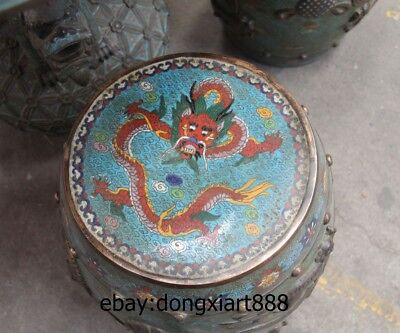 "35"" Chinese Purple Bronze Cloisonne Foo Dog Lion Dragon Round Table Desk stool 11"