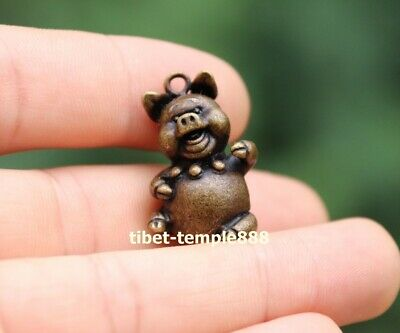 3 cm Chinese Pure Bronze Zodiac Animal Lucky Amulet Beast Pig Hog Swine Pendant 9
