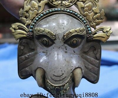 Tibetan Old Copper Gold Gilt Inlay Turquoise Coral Crystal Elephant Head Statue 4