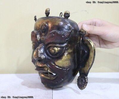 Folk Fane Monastery Old Red Copper Gold Gilt Guru LaMa Buddha God Head Mask 8