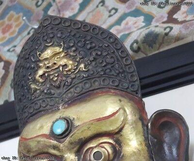 Nepal Monastery Old Red Copper Gold Gilt Jambhala Mahakala Buddha God Head Mask 11