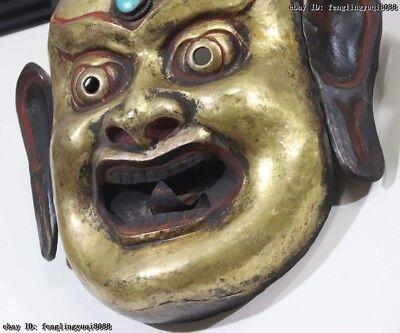 Nepal Monastery Old Red Copper Gold Gilt Jambhala Mahakala Buddha God Head Mask 12