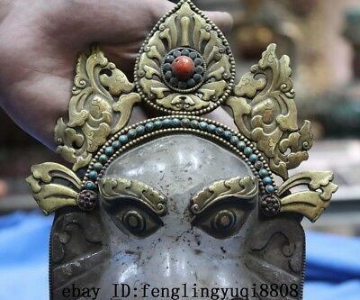 Tibetan Old Copper Gold Gilt Inlay Turquoise Coral Crystal Elephant Head Statue 3