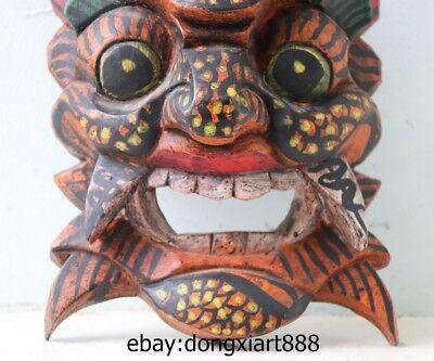 10 Tibet Buddhism Wood Handwork Carved painted Mahakala Buddha face mask Statue 5
