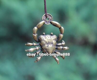 5 CM Chinese Pure Bronze  river crab get rich Money Fengshui Wealth Pendants 9