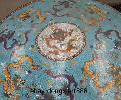"35"" Chinese Purple Bronze Cloisonne Foo Dog Lion Dragon Round Table Desk stool 9"