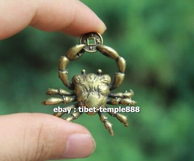 5 CM Chinese Pure Bronze  river crab get rich Money Fengshui Wealth Pendants 5