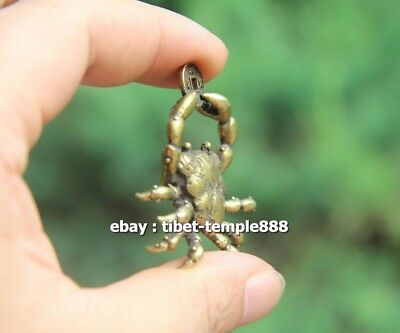 5 CM Chinese Pure Bronze  river crab get rich Money Fengshui Wealth Pendants 2