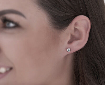 Diamond Solitaire Necklace & Studs Earrings Set 3/4 Carat tw 14K White Gold 4