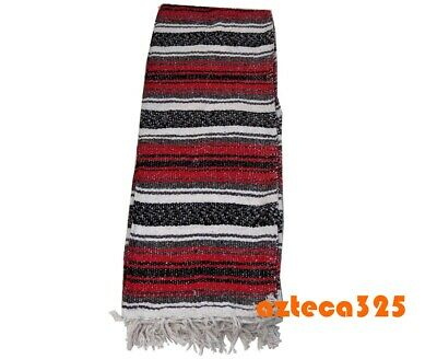 """Authentic RED Mexican Falsa Blanket Hand Woven Yoga Mat Blanket 72"""" x 49"""" 2"""