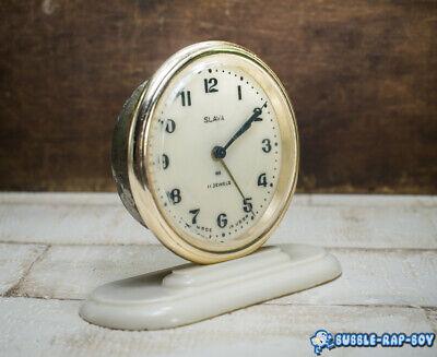 Vintage Clock Slava Mid Century Ussr 11 Jewels Miniature Clock Film Prop 2