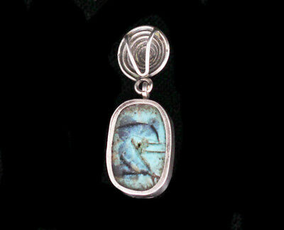 Antique Egyptian Revival Sterling Silver Blue Scarab Faience Pendant 3