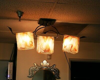 Modern Handmade Wrought Iron Ceiling Lamp&folding Signed Glass Europe Post 1940 6