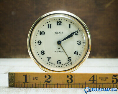 Vintage Clock Slava Mid Century Ussr 11 Jewels Miniature Clock Film Prop 5
