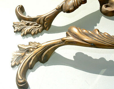 """2 large old look french style pulls handles solid brass vintage doors 11""""pair B 4"""