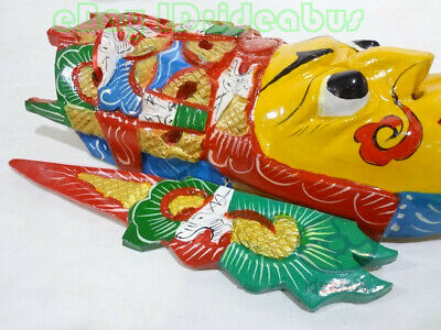 Chinese Folk Art Wood Hand Carved Painted NUO MASK Walldecor - Dixi(local drama) 9