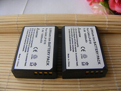 2Xbattery+charger for Canon EOS 1200D 1300D 2000D 4000D Rebel T3 Kiss X50 LP-E10 3