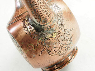 Antique islamic Engraved copper Ewer Pitcher Basin set from Afghanistan No:16/G 11