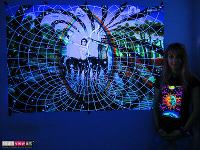 UV BACKDROP Black Light Fluorescent Glow Psychedelic Art Banner Psy Wall Hanging